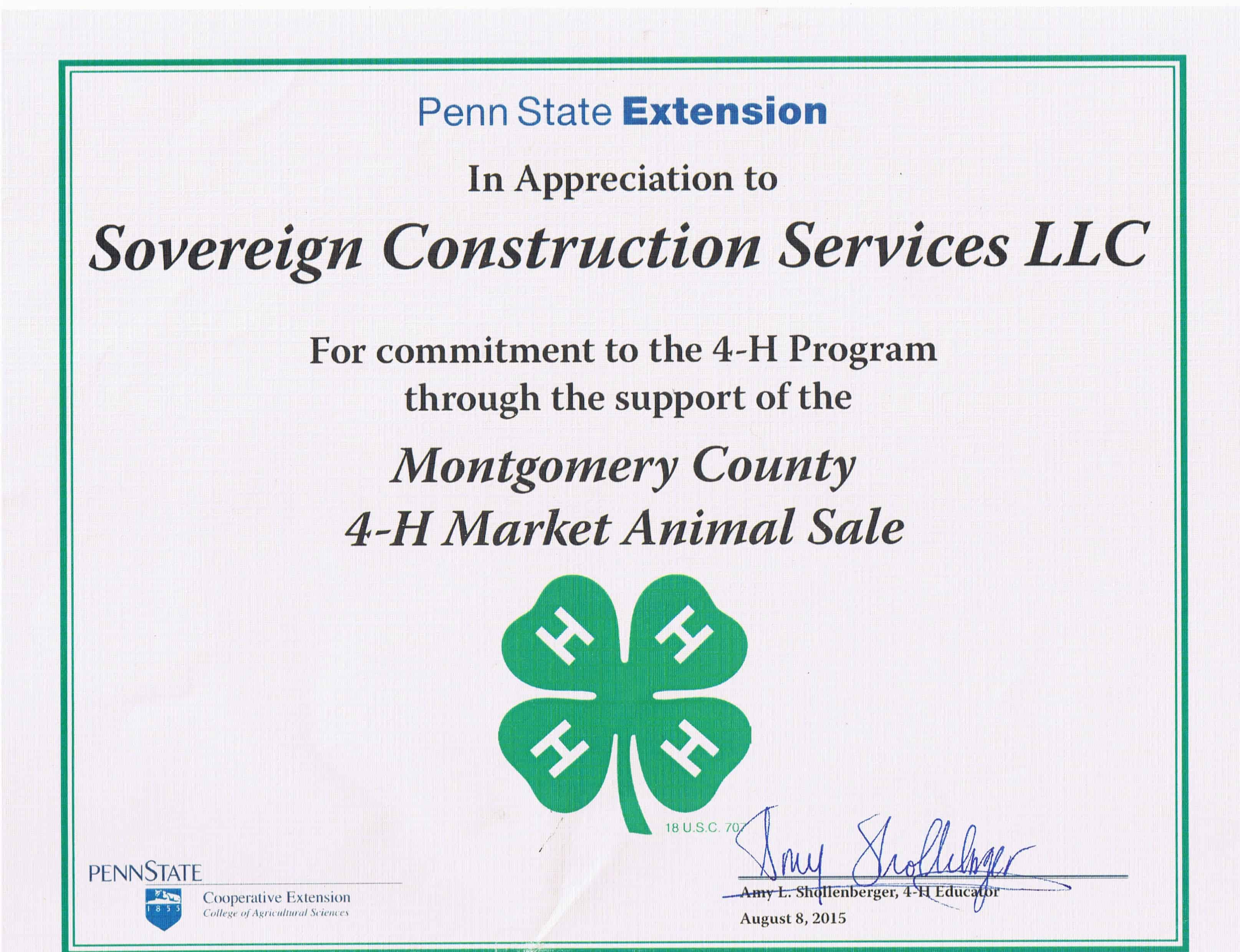 Sovereign supports montco 4h livestock club sovereign 2014 certificate 4 h program supporter 1betcityfo Choice Image