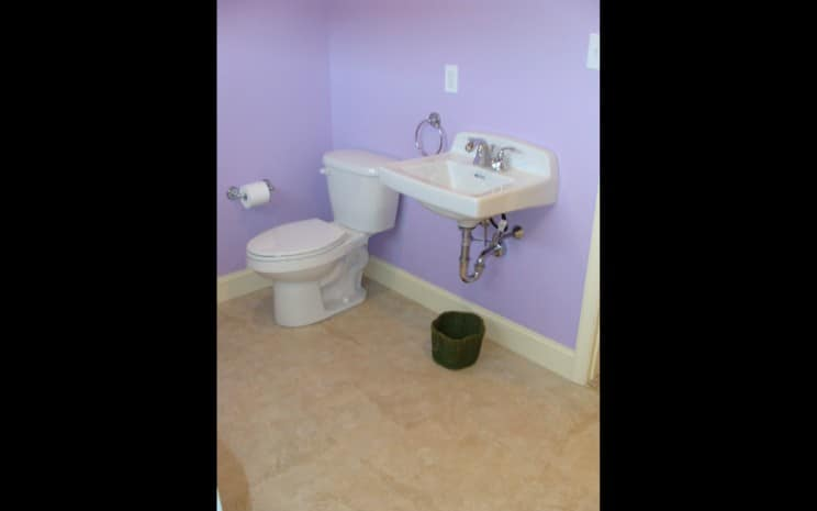 Powder Room in Finished Basement | Sovereign Construction Services